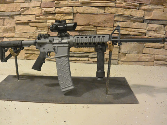 Smith and Wesson AR M&P two-tone Cerakote paint, extended mags, bipod front grip, backup sights, Barska optic.